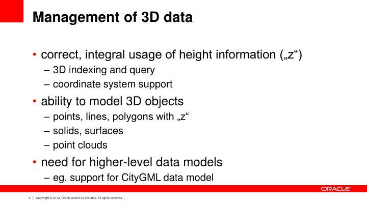 Management of 3D data