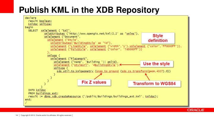 Publish KML in the XDB Repository
