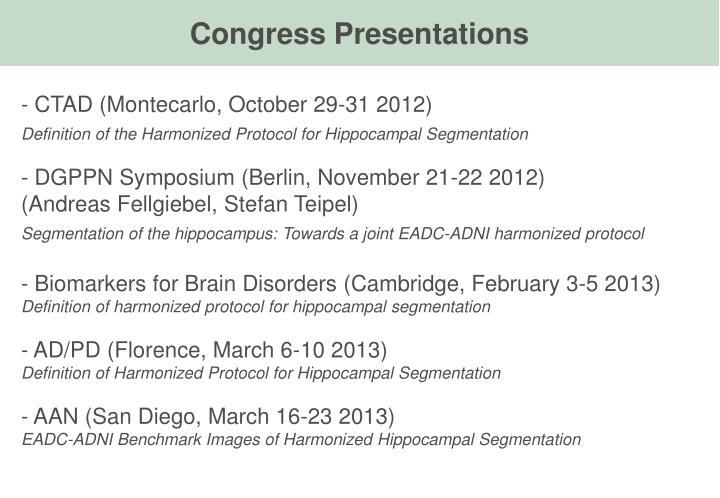 Congress Presentations