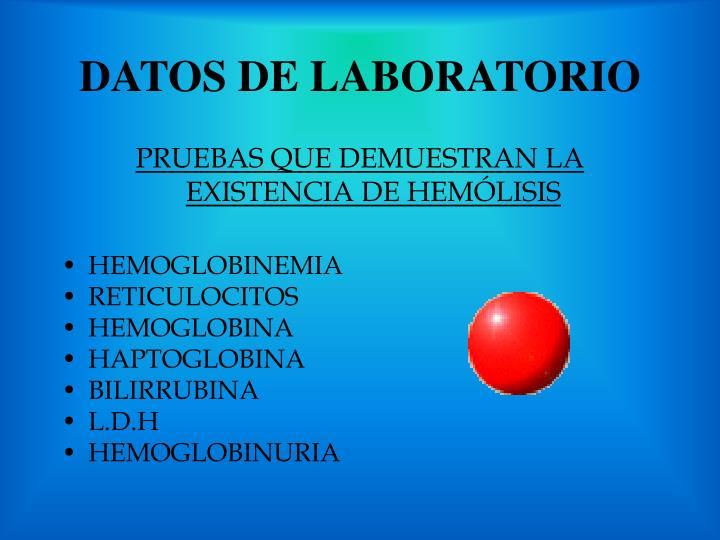 DATOS DE LABORATORIO