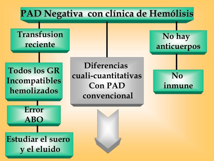 PAD Negativa  con clínica de Hemólisis