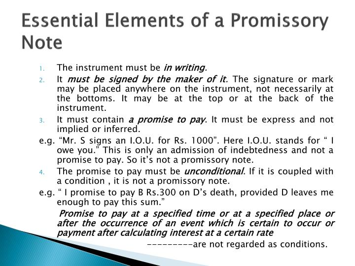 essentials of promissory note