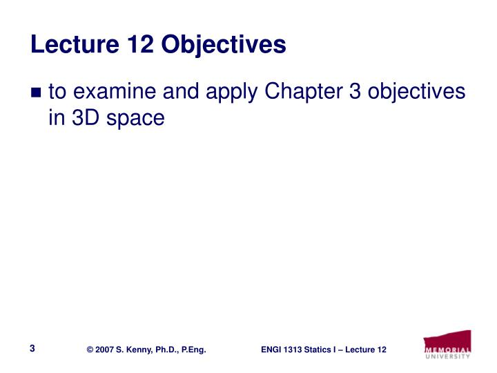 Lecture 12 objectives