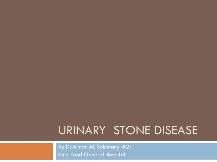 urinary stone disease n.
