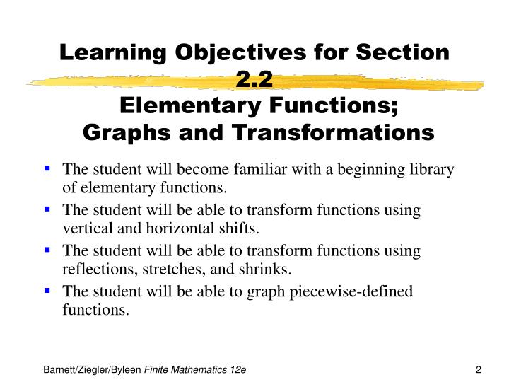 Learning objectives for section 2 2