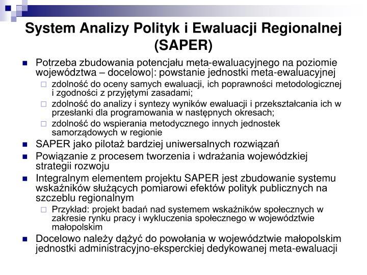 System Analizy Polityk i Ewaluacji Regionalnej (SAPER)