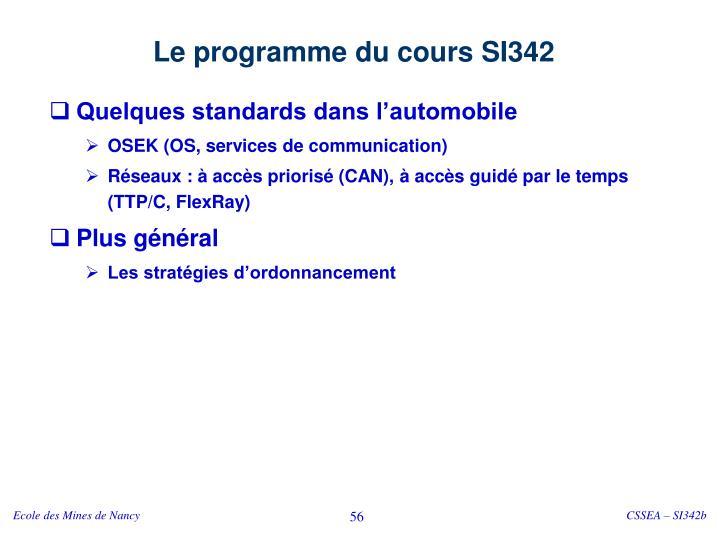 Le programme du cours SI342