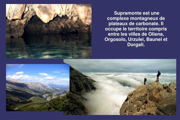 Supramonte est une complexe montagneux de plateaux de carbonate. Il occupe le territoire compris entre les villes de Oliena, Orgosolo, Urzulei, Baunei et Dorgali.