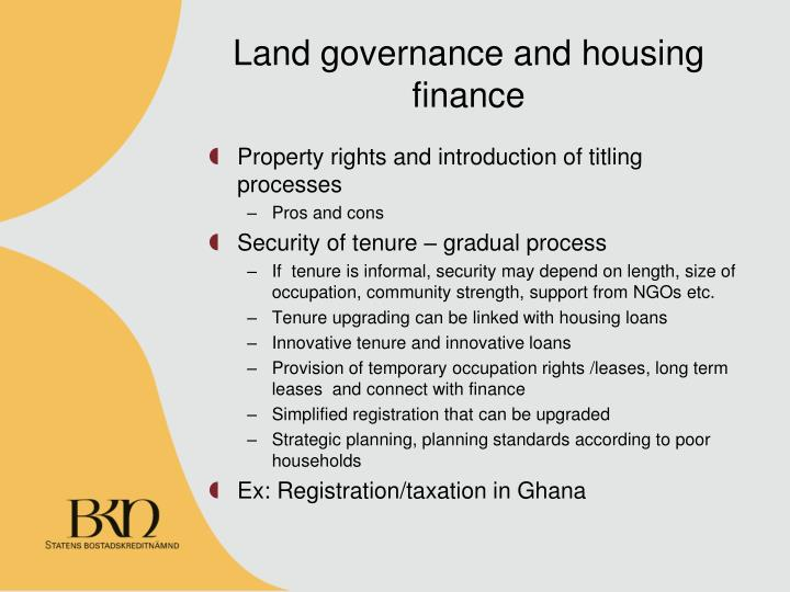 Land governance and housing finance