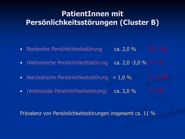 Patientinnen mit pers nlichkeitsst rungen cluster b