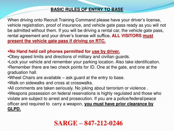 BASIC RULES OF ENTRY TO BASE