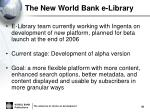 the new world bank e library