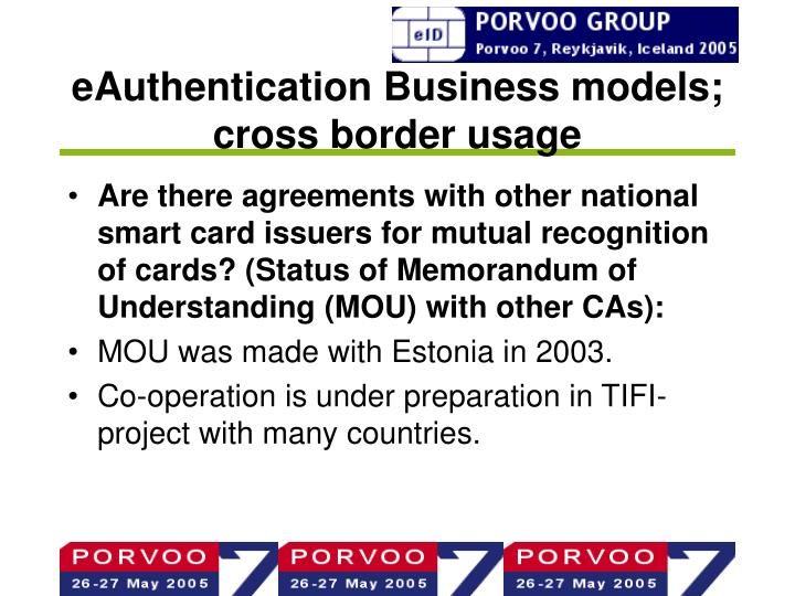 eAuthentication Business models; cross border usage