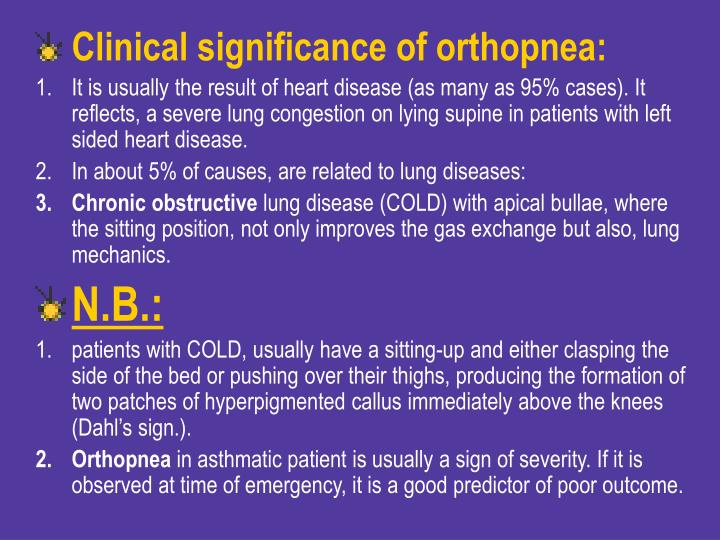 Clinical significance of orthopnea: