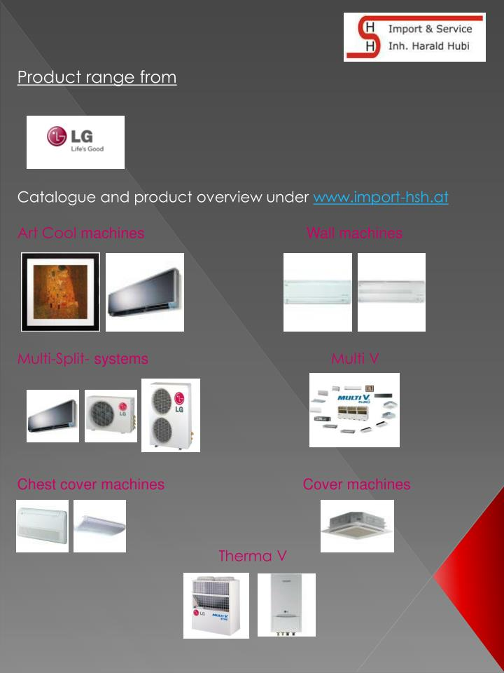 Product range from