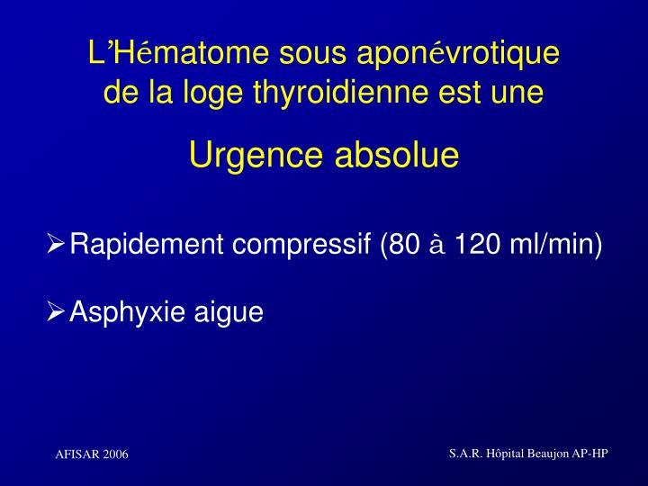 L h matome sous apon vrotique de la loge thyroidienne est une urgence absolue