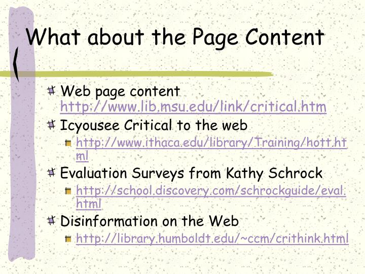 What about the Page Content
