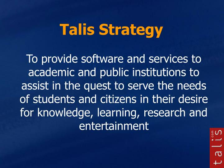 Talis Strategy