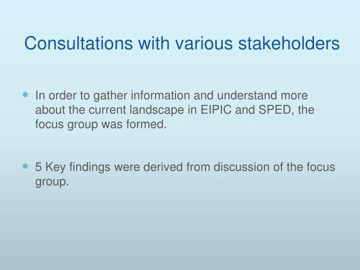 Consultations with various stakeholders