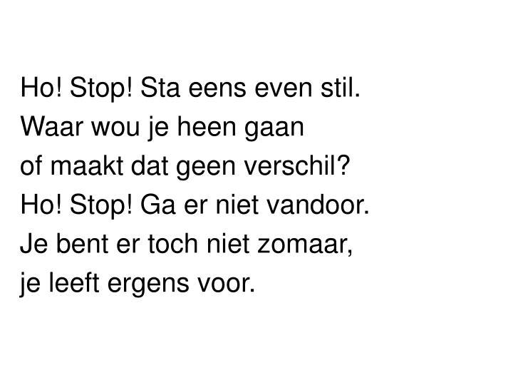 Ho! Stop! Sta eens even stil.