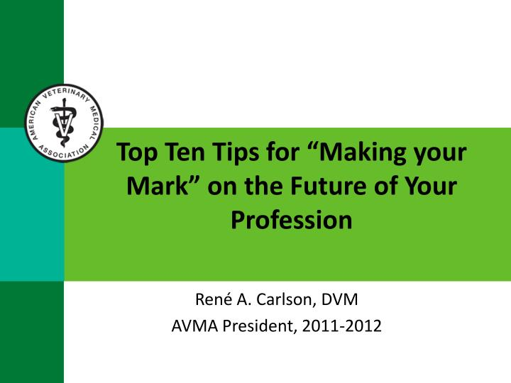 top ten tips for making your mark on the future of your profession n.