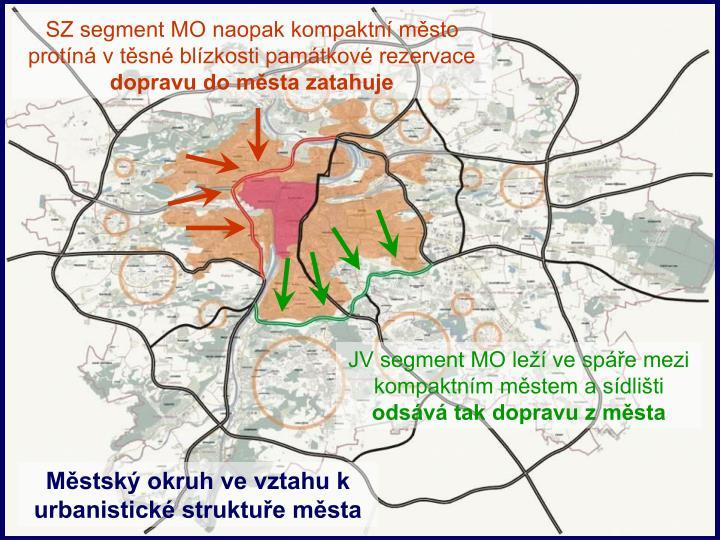 SZ segment MO naopak kompaktní město protíná v těsné blízkosti památkové rezervace
