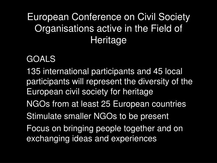 European Conference on Civil Society Organisations active in the Field of Heritage
