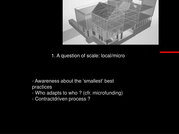 1. A question of scale: local/micro