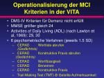 operationalisierung der mci kriterien in der vita
