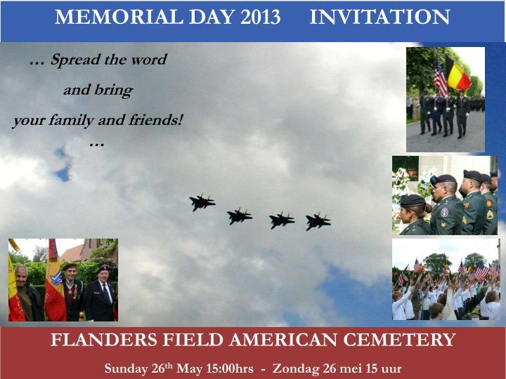 MEMORIAL DAY 2013     INVITATION