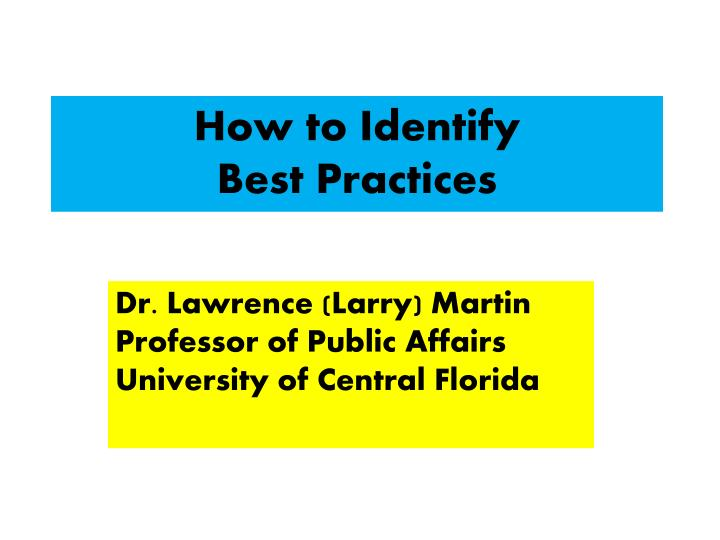 how to identify best practices n.