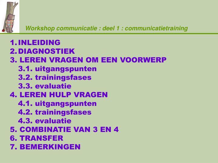 Workshop communicatie deel 1 communicatietraining1