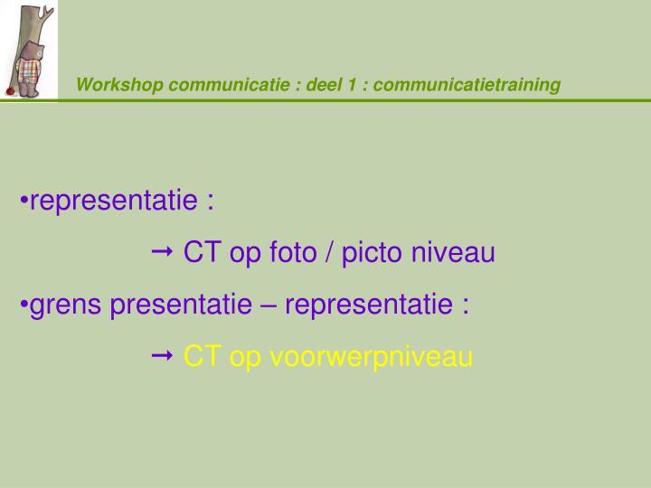 Workshop communicatie : deel 1 : communicatietraining