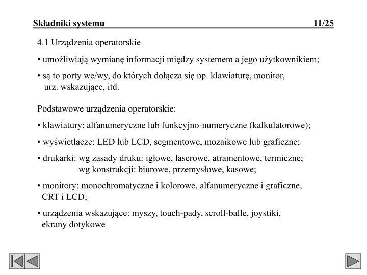 4.1 Urządzenia operatorskie