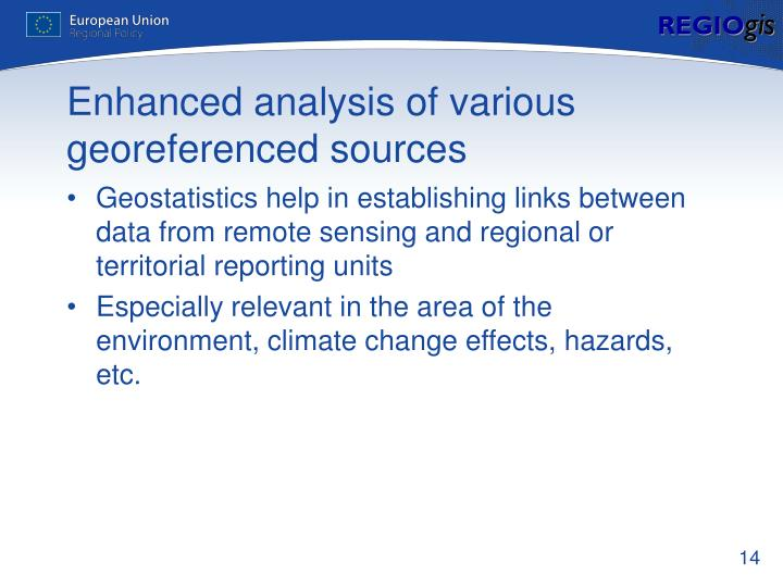 Enhanced analysis of various georeferenced sources