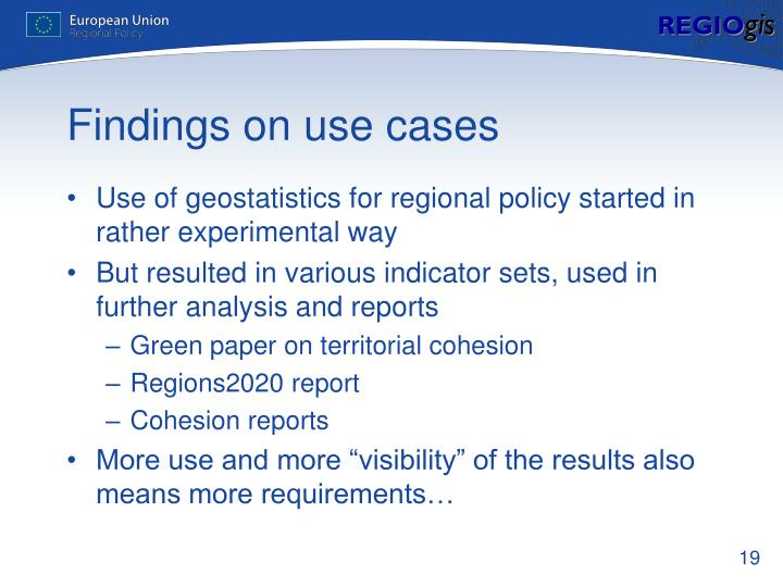 Findings on use cases
