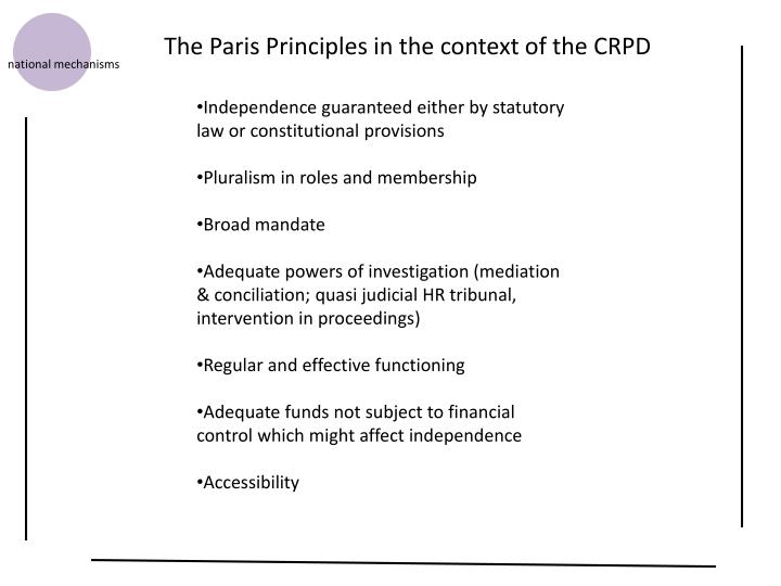 The Paris Principles in the context of the CRPD
