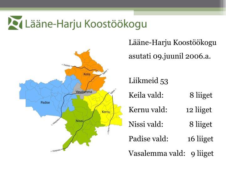 Lääne-Harju Koostöökogu asutati 09.juunil 2006.a.