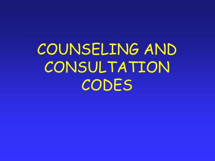 COUNSELING AND