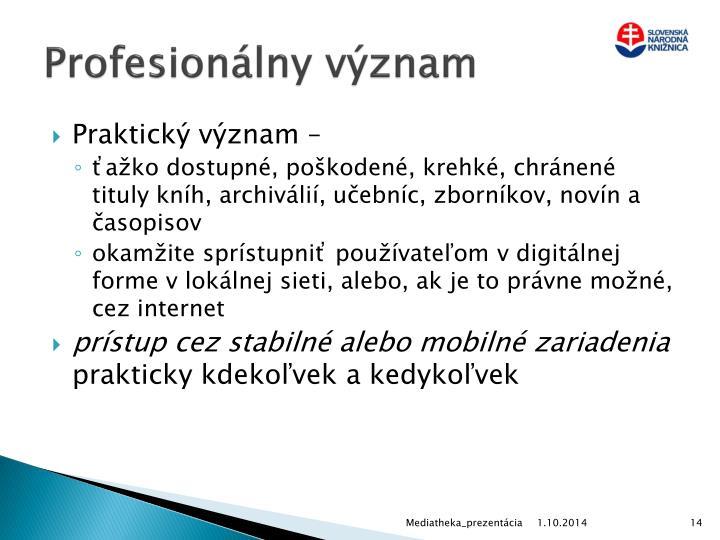 Profesionálny význam
