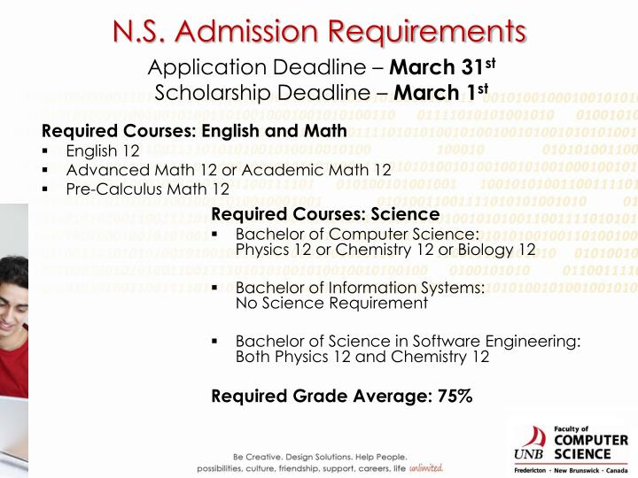 N.S. Admission Requirements