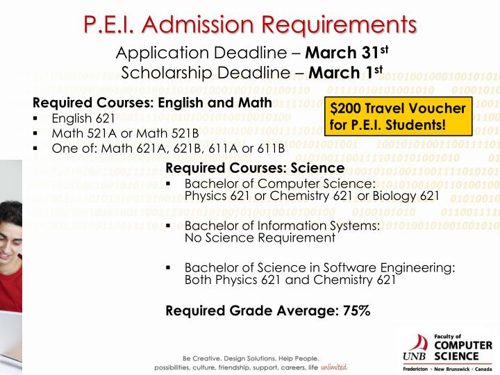 P.E.I. Admission Requirements