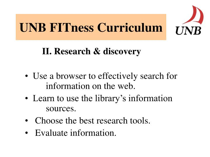 UNB FITness Curriculum
