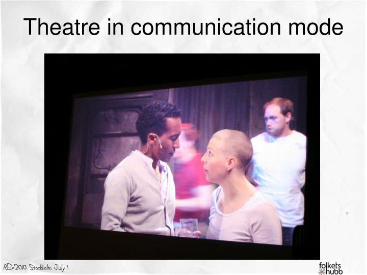 Theatre in communication mode