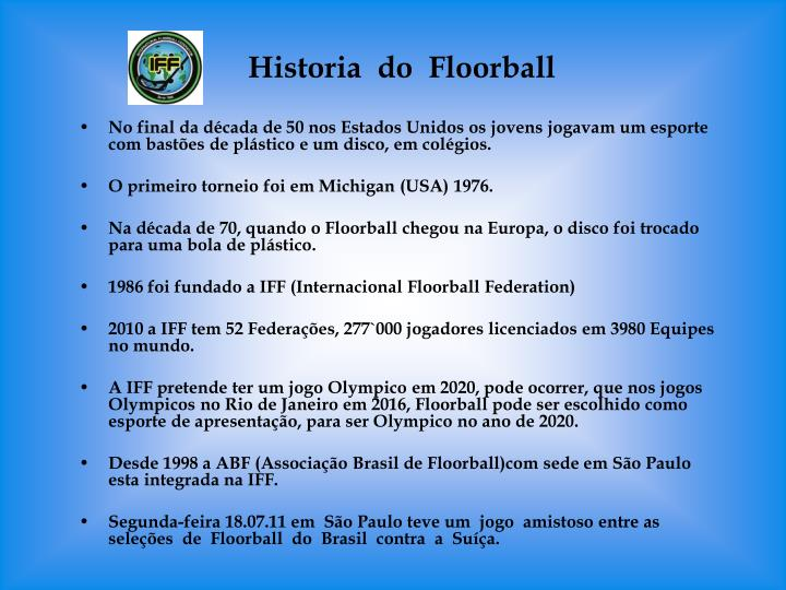 Historia  do  Floorball