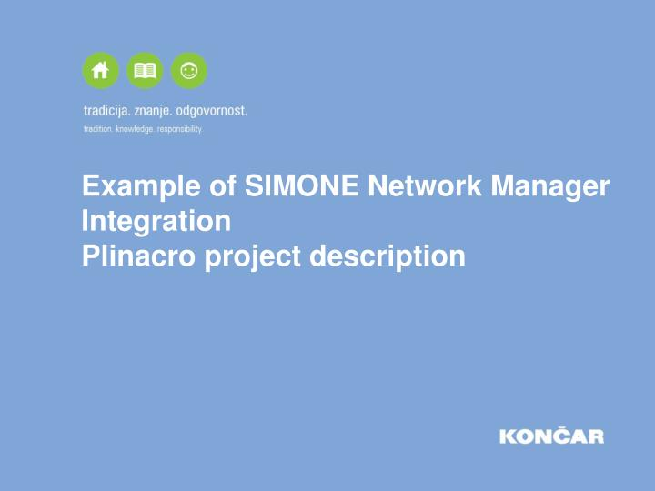 Example of simone network manager integration plinacro project description