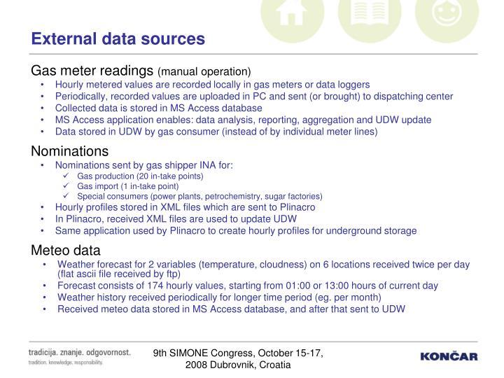 External data sources