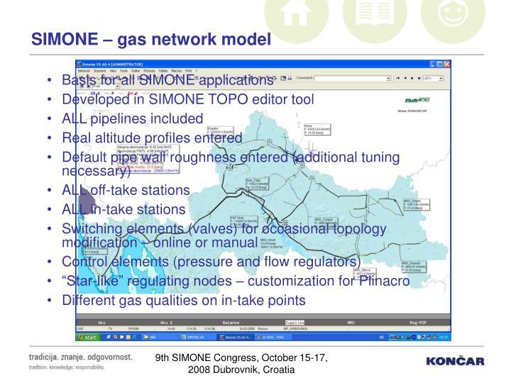 SIMONE – gas network model