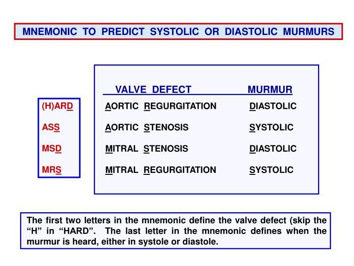 MNEMONIC  TO  PREDICT  SYSTOLIC  OR  DIASTOLIC  MURMURS