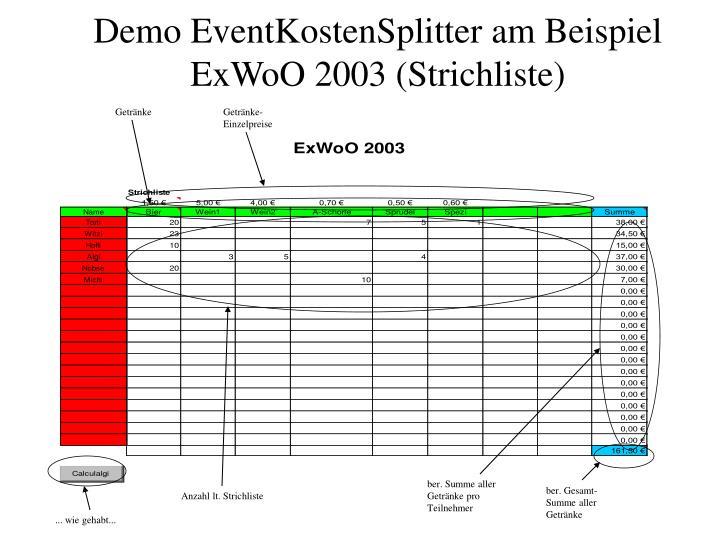 Demo eventkostensplitter am beispiel exwoo 2003 strichliste